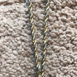 LOFT gold rope three tiered necklace